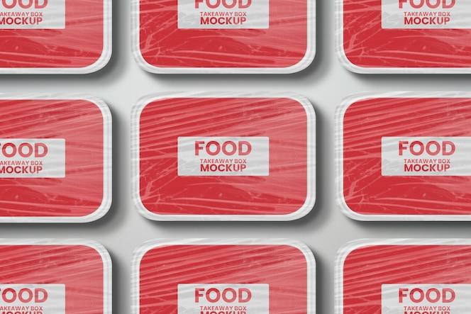 플라스틱 포장 모형이 포함 된 여러 음식 테이크 아웃 배달 상자