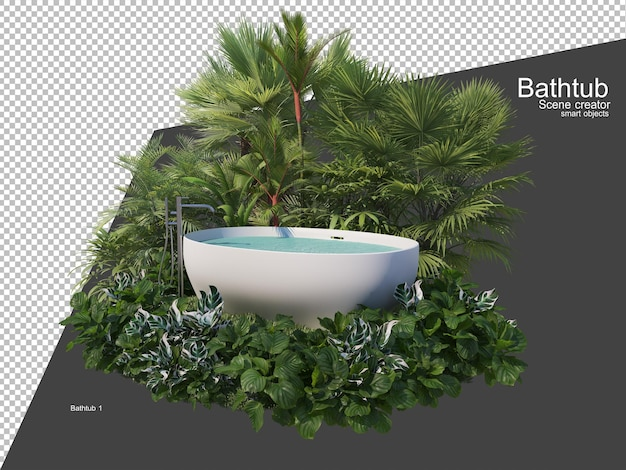 Multiple plants around bathtub in the garden