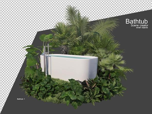 정원의 욕조 주변에 여러 식물