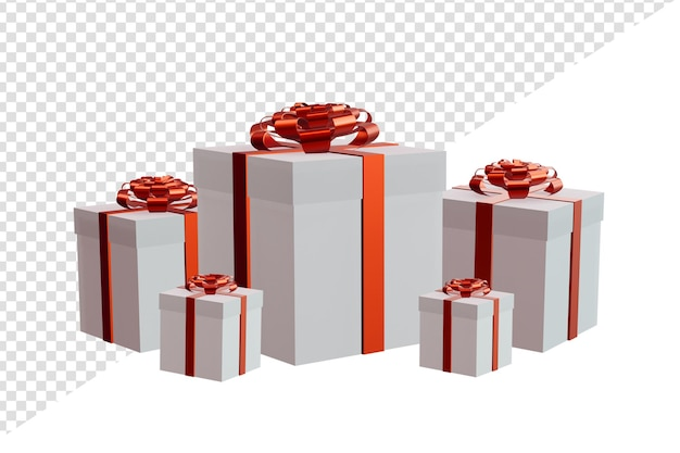 Multiple size giftbox with transparent background