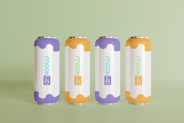 編集可能な色の複数のソーダ缶のモックアップ正面図