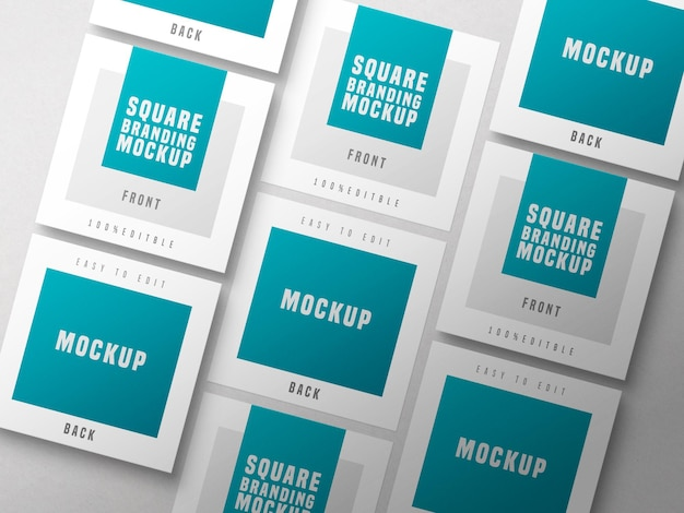 Mockup di biglietti da visita quadrati multipli