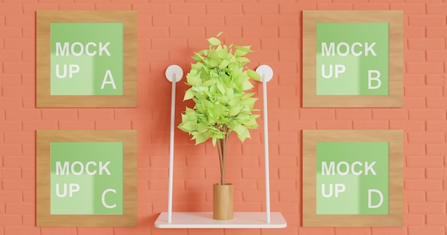 Multiple square wooden frame mockup on the wall with plant