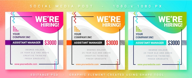 Multipurpose job vacancy social media post