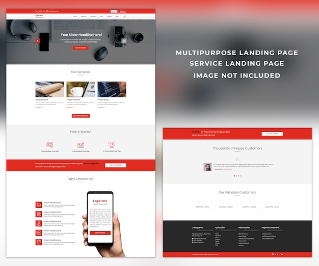 다목적 방문 웹 사이트 디자인 템플릿