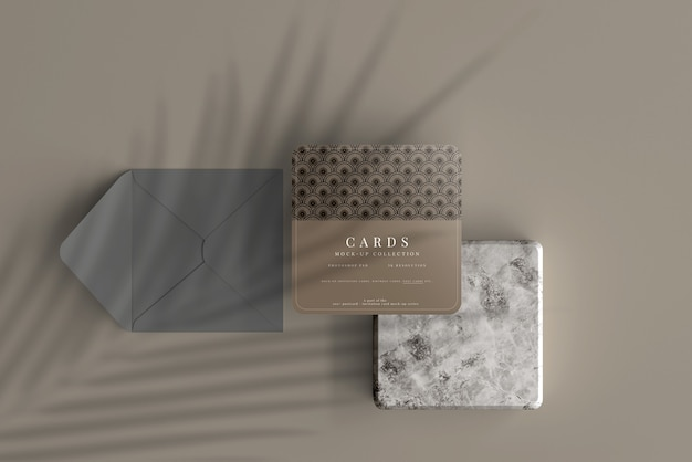 Multipurpose square card mockup with rounded corners