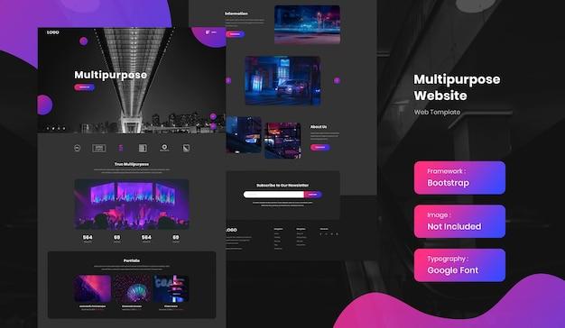 Multipurpose website template in dark mode