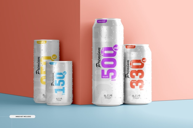 Multisize soda can mockup