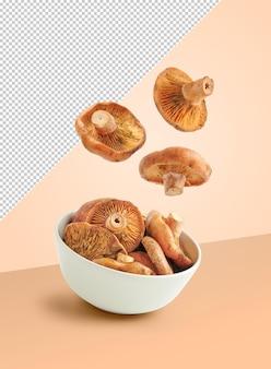 크림 배경에 그릇에 떨어지는 버섯 모형