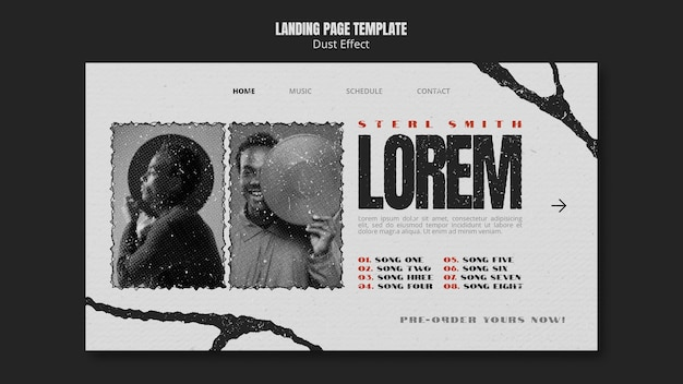 Music album landing page with dust effect