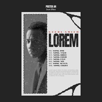 사진 및 먼지 효과가있는 음악 앨범 포스터