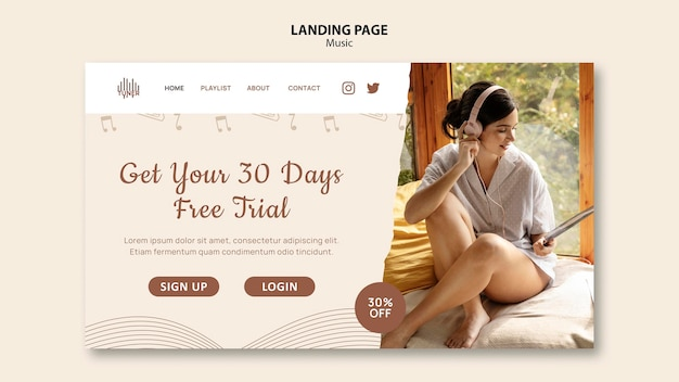 Music app landing page template
