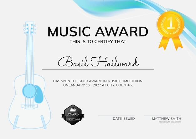 Modello di certificato di premio musicale psd con design minimale dell'illustrazione della chitarra
