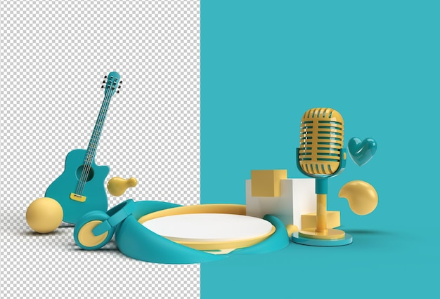 Music background scene of minimal podium scene for display products advertising design transparent psd file..