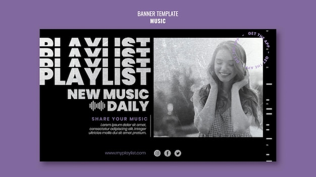 Music banner template with photo