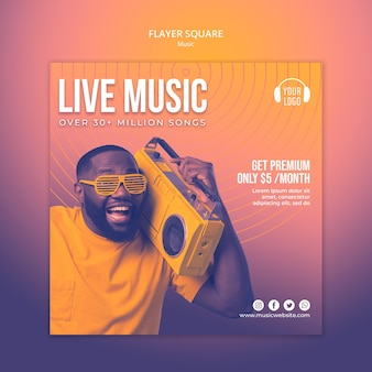 Music concept flyer square template