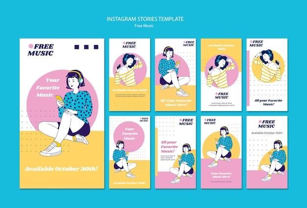 Музыкальная концепция instagram рассказы шаблон Premium Psd