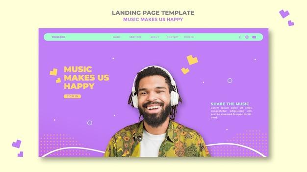 Modello di pagina di destinazione del concetto di musica