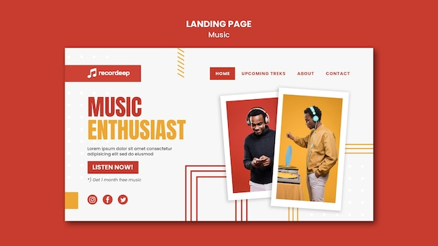 Music concept landing page template