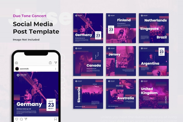 Music concert festival instagram post template set
