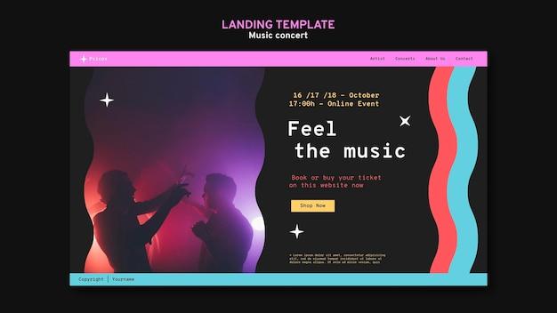 Modello di pagina di destinazione del concerto di musica