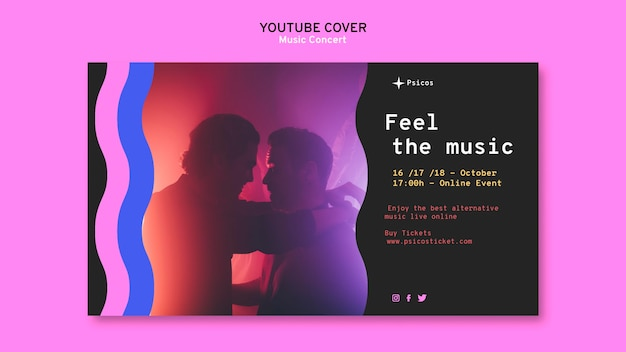 Modello di copertina di youtube del concerto di musica