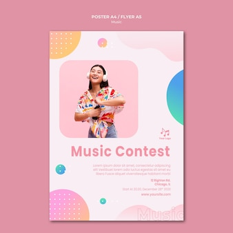 Music contest poster stationery template