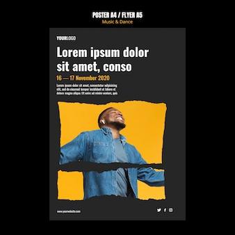 Modello di poster pubblicitario per eventi di musica e danza
