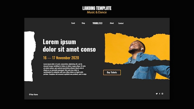 Music and dance event template landing page