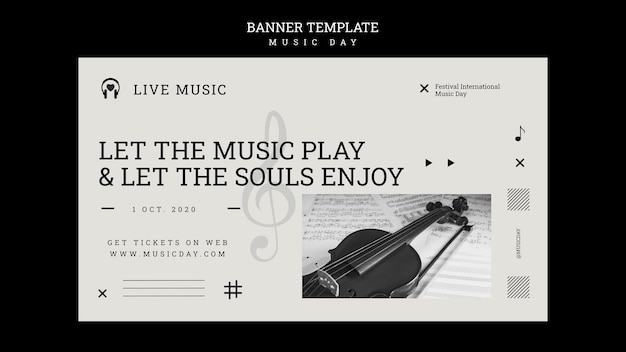 Music day banner template