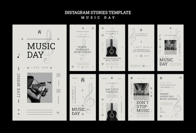 Music day instagram stories template