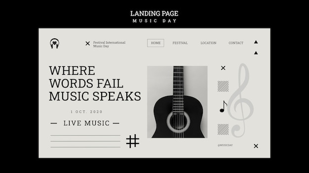 Music day landing page template