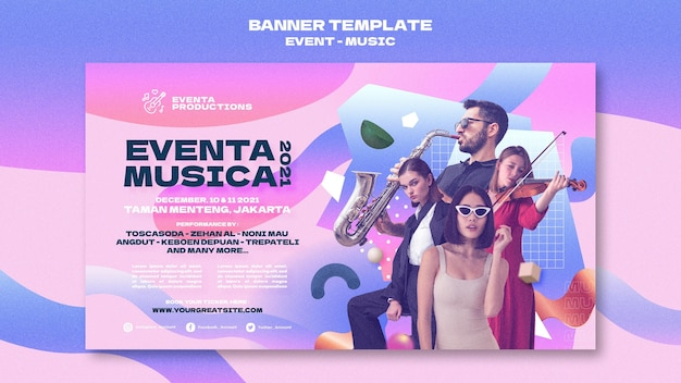 Music event banner template in retro style