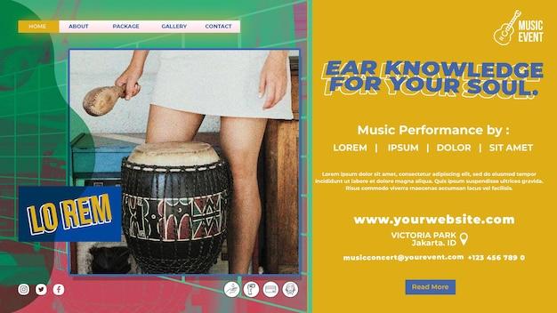 Modello di pagina di destinazione dell'evento musicale