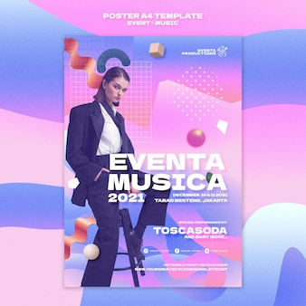 Music event print template in retro style