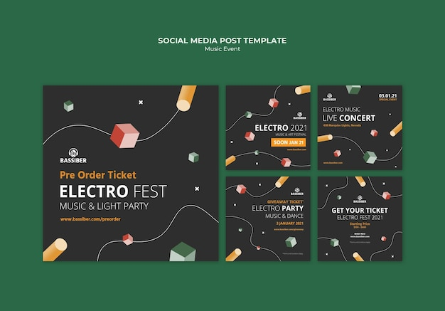 Music event social media posts