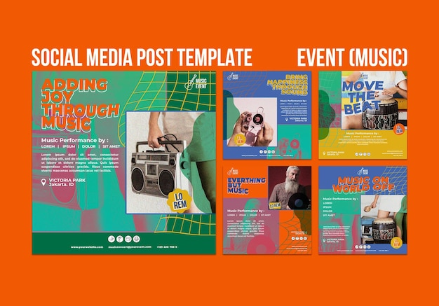Music event social media posts Free Psd