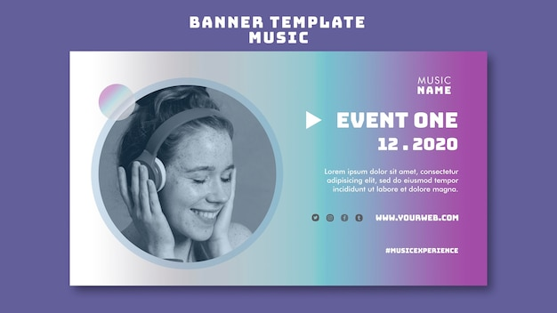 Music experience horizontal banner template