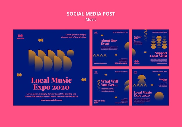 Music expo social media post template