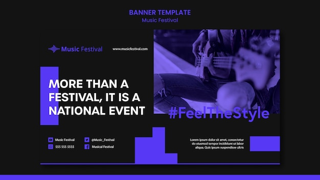 Music festival ad template banner
