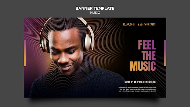 Music festival banner template Free Psd