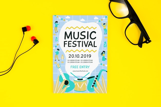 Music festival flyer with glasses and headphones beside
