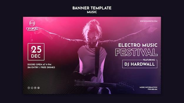 Музыкальный фестиваль горизонтальный баннер шаблон