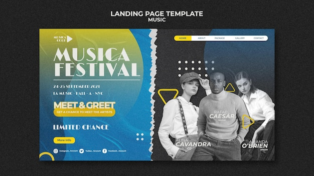 Music festival landing page template