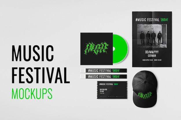 Music festival mockup, design psd event passes high resolution image