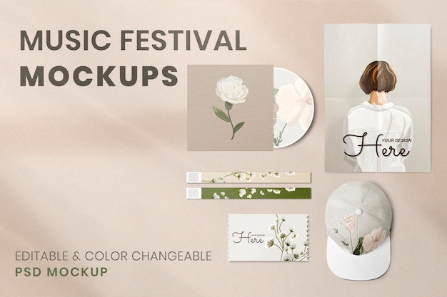 音楽祭のモックアップ、フラワーデザインのpsdイベントが高解像度画像を通過します