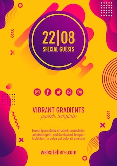 Music festival yellow poster template
