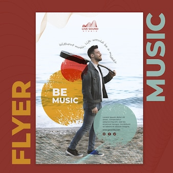 Music flyer template with photo of man holding a guitar