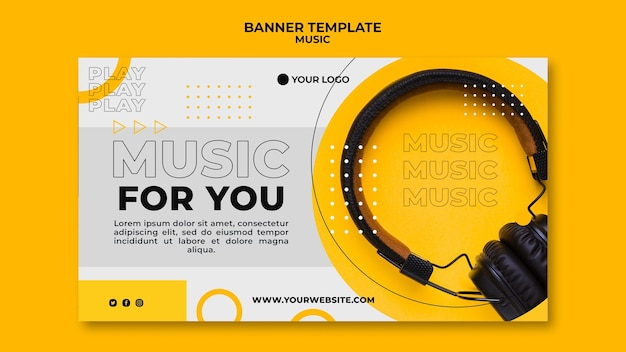 Музыка для вас баннер веб-шаблон