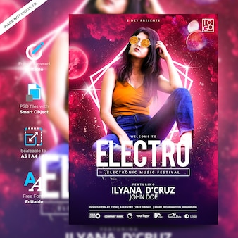 Music fun and model neon flyer electro style party creative poster